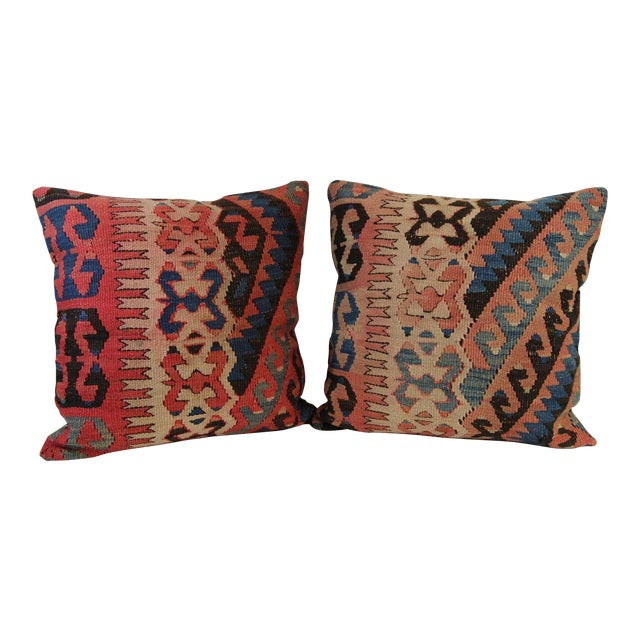 Turkish Vintage Pillow Covers - Pair - Image 1 of 6