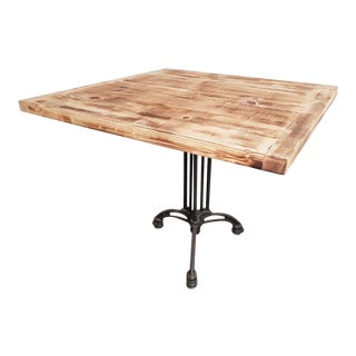 Square Industrial Bistro Dining Table Made From Reclaimed European Barnwood For Sale