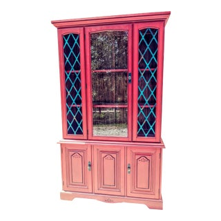 Vintage Painted China Cabinet For Sale