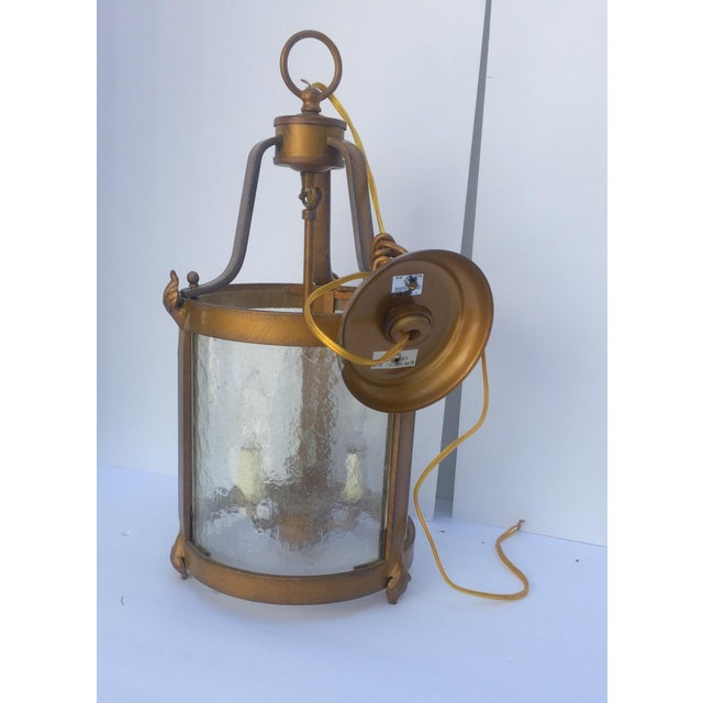 Vintage Seeded Glass 3 Light Carriage Lantern For Sale - Image 9 of 12
