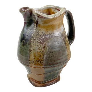 Mark Peters North Carolina Pottery Shino Glaze Pitcher For Sale