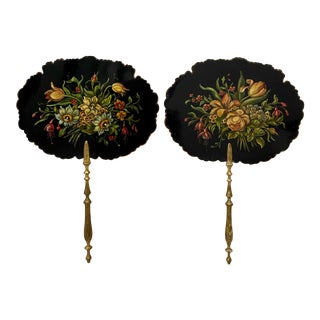Pair of 19th Century Hand Painted Floral Bouquet Fixed Fans For Sale