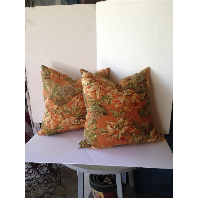 Newport Orange Floral Pillows - S/2 - Image 2 of 8
