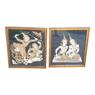 Indonesian God & Goddess Silkscreen Paintings - a Pair For Sale
