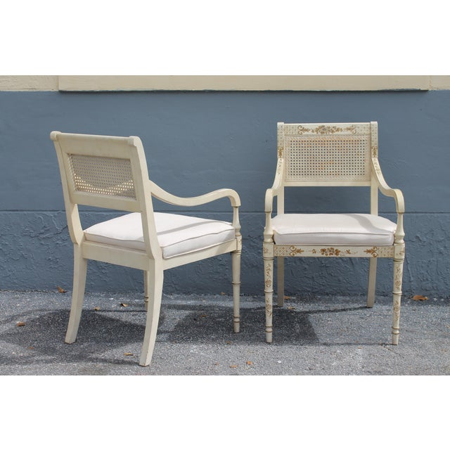 Vintage Mid Century Taffeta Faux Bamboo Caned Armchairs- A Pair For Sale In Miami - Image 6 of 13