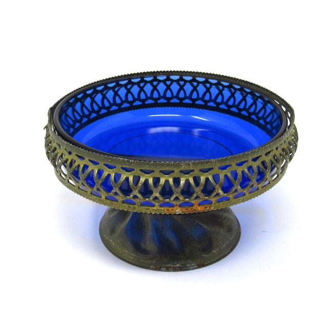 Art Deco Vintage Cobalt Glass Bowl in Pierced Metal Stand For Sale - Image 3 of 8