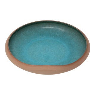 1960s Contemporary Studio Sky Blue and Brown Pottery Centerpiece Bowl