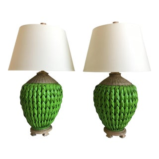 Colossal Wicker Lamps & Shades - a Pair For Sale