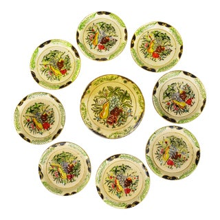 Vintage Isco Handpainted Alcohol Proof Fruit Design Coaster With Box - Set of 8 For Sale