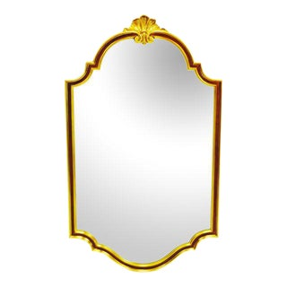 Large Vintage Carolina Mirror Corporation Wall Mirror With Burgundy and Gold Colored Frame. For Sale
