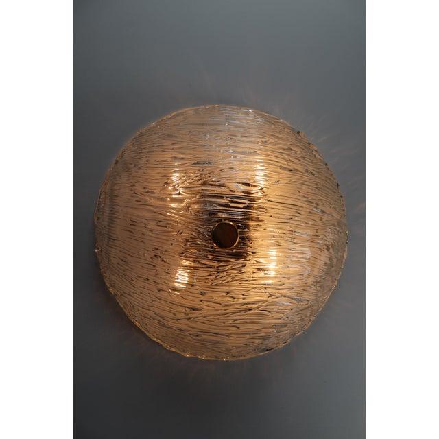 Round Modernist Textured Ice Glass Flush Mounts By Kalmar Austria For Sale - Image 6 of 12