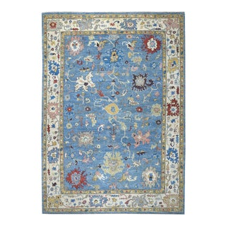 Denim Blue Angora Oushak Hand Knotted Rug For Sale