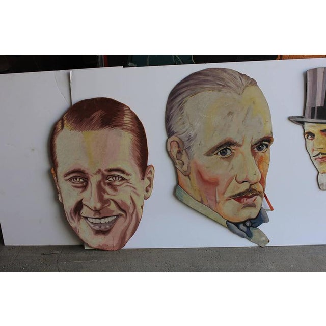 Traditional 1930s Vintage Hand-Painted Theater Display Actor Portraits- Set Of 5 For Sale - Image 3 of 3