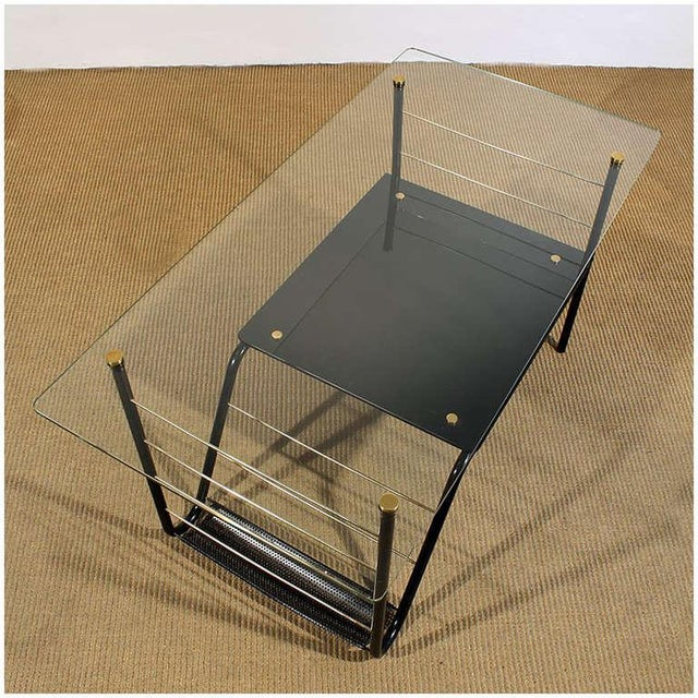 1960s 1960s Coffee Table by Pierre Guariche, Metal, Glass, Opaline, Brass - France For Sale - Image 5 of 8