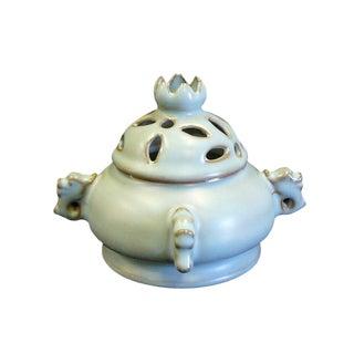 Chinese Ding Shape Light Blue Ceramic Incense Burner