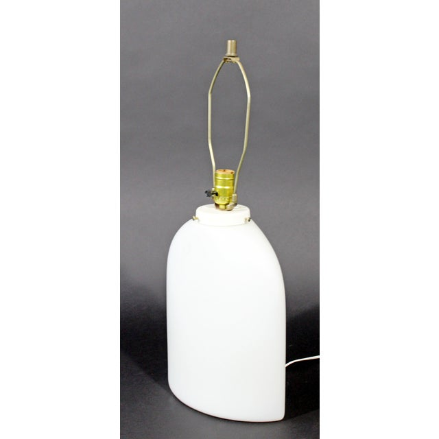 For your consideration is a wonderful, large, white glass table lamp, with original brass finial, by Peill & Putzler for...
