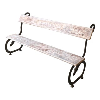 English Garden Bench With Cast Iron Serpent Base For Sale