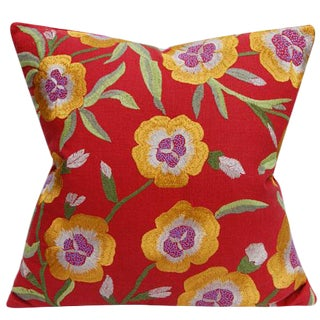 Contemporary Large Scale Floral Embroidered Pillow Cover For Sale