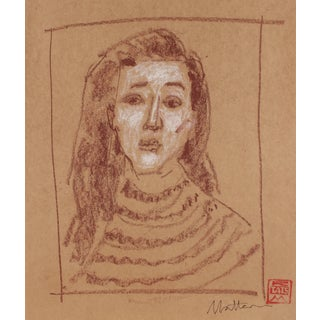 Rip Matteson Female Portrait Drawing in Pastel, 20th Century For Sale