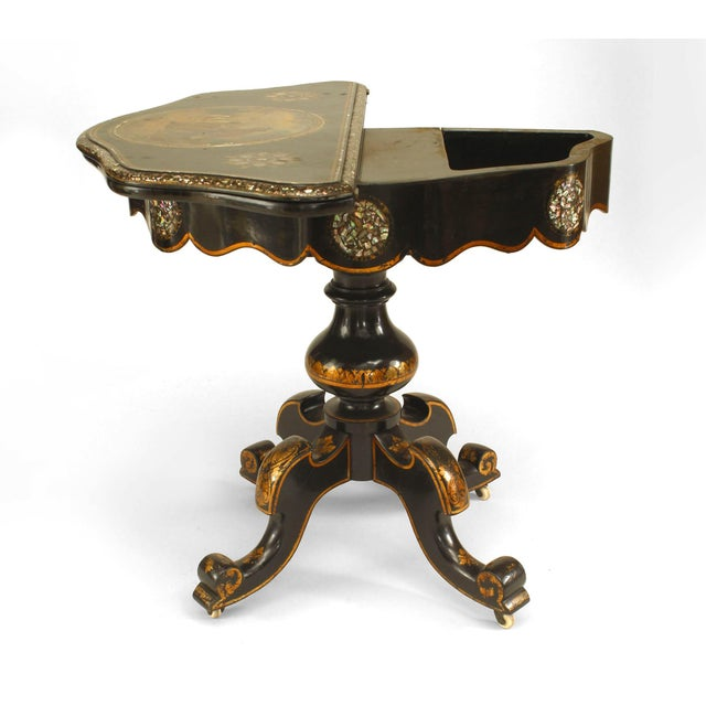 English Victorian papier mâché pearl inlaid black lacquered flip top console table with painted scene of dogs with hunter.