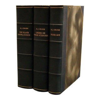 Vintage Black Leather Danish Novels- Set of 3