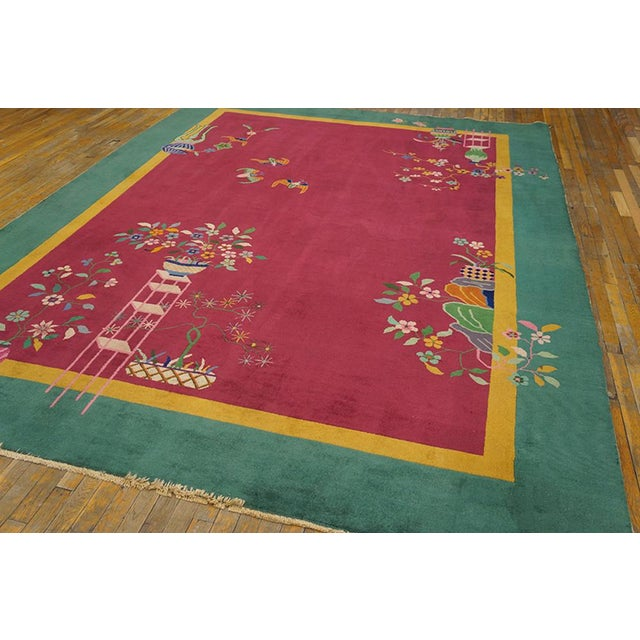 """Art Deco Chinese Art Deco Pink Rug - 8'9""""x11'4"""" For Sale - Image 3 of 8"""