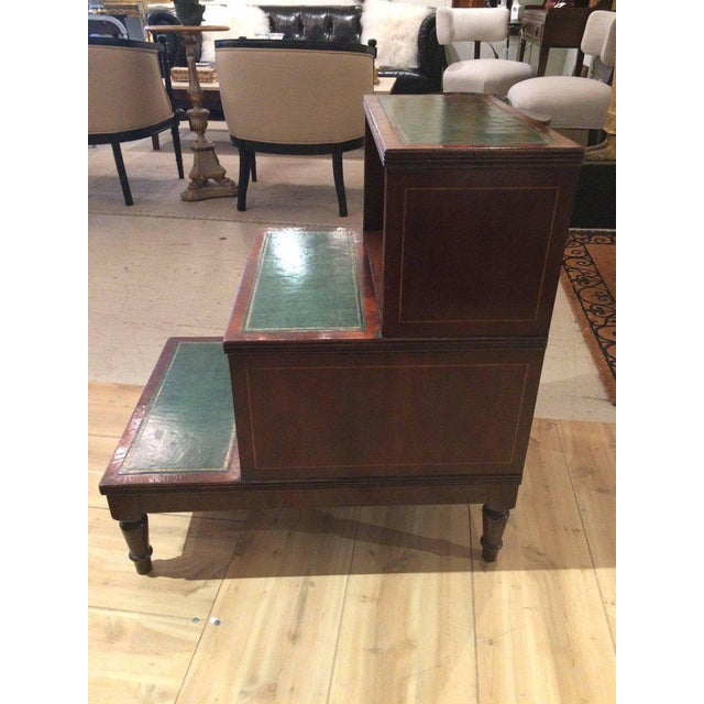 Regency Style Mahogany & Green Leather Library Steps Side Table For Sale In Philadelphia - Image 6 of 7