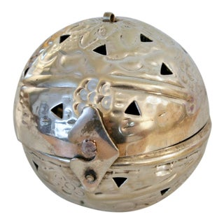 Chromed Perforated Ornament Trinket Box For Sale