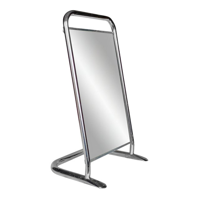 Vintage Medical Doctor's Chrome Floor Table Mirror For Sale