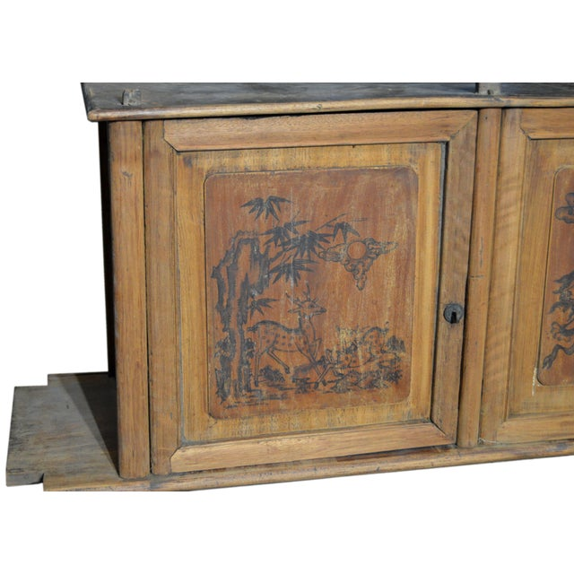 19th Century Chinese Four-Door Low Wooden Cabinet With Hand-Painted Scenes For Sale - Image 4 of 9