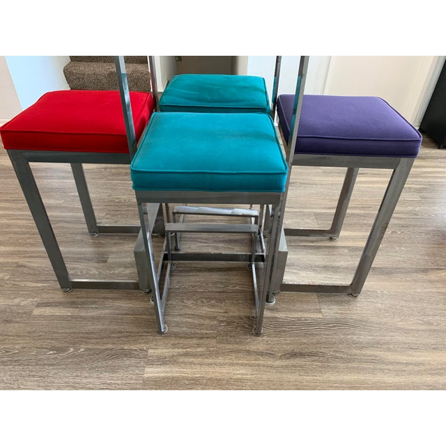 1970s Chrome and Glass High-Top Table & 4 Stools - 5 Pieces For Sale - Image 9 of 12