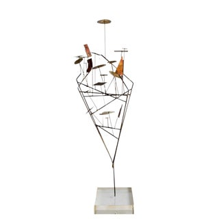 1970s Brutalist Wire Sculpture on Lucite Base For Sale
