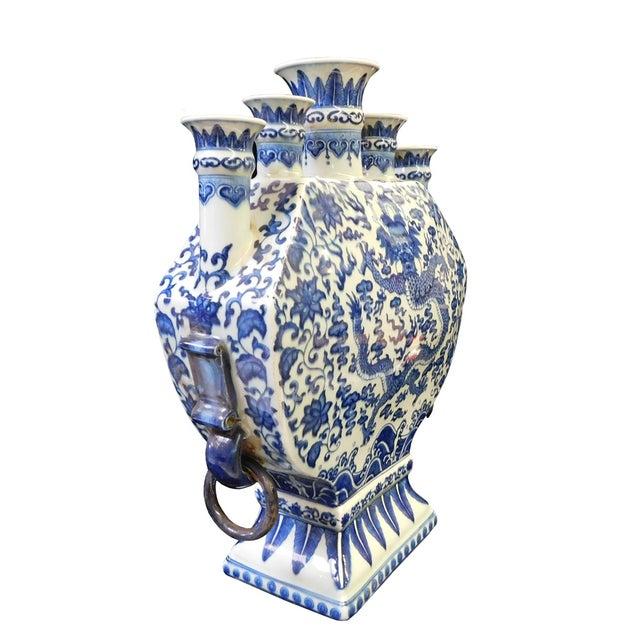 Blue & White Porcelain 5 Mouths Dragon Vase - Image 6 of 7