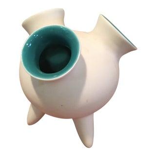 Space Age Matte White Ceramic Bud Vase