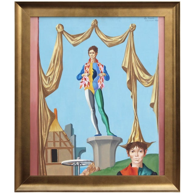 "Jean Pierre Clement ""La Parade"" Jesters Oil Painting For Sale"
