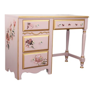 1990s Cottage Tea Rose Pink and Gold Desk For Sale