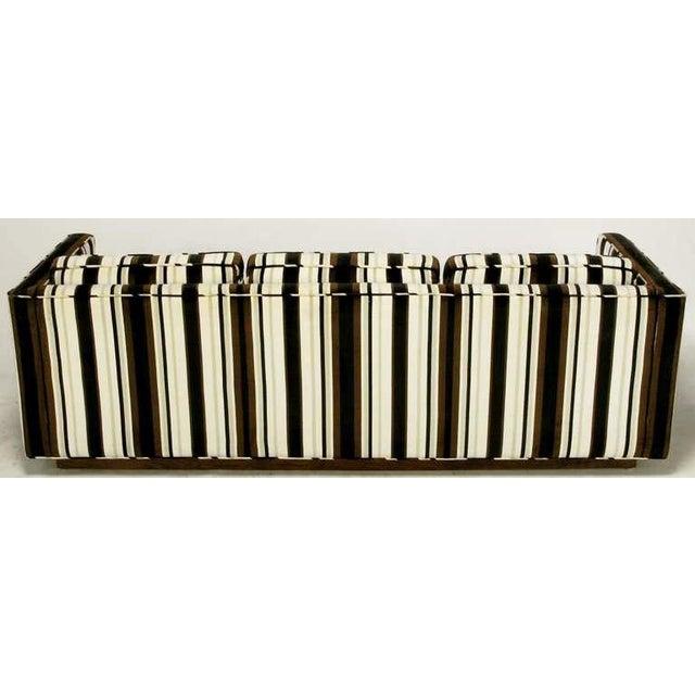 Marden Manufacturing Inc. Marden Even-Arm Striped Velvet Tuxedo Sofa For Sale - Image 4 of 8