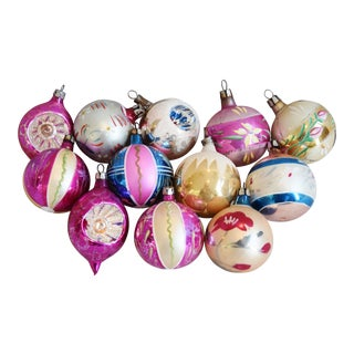 Midcentury Vintage Colorful Christmas Tree Ornaments W/Box - Set of 12 For Sale