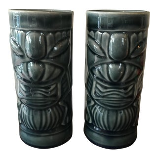 1970s Hollywood Regency Libbey Blue Ceramic Tiki Mugs - a Pair