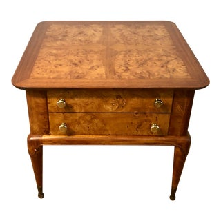 Mid Century Burlwood Nightstand or Side Table For Sale