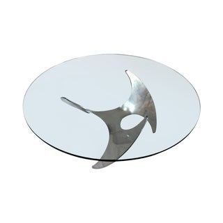 Aluminum and Glass Propeller Table by Knut Hesterberg For Sale