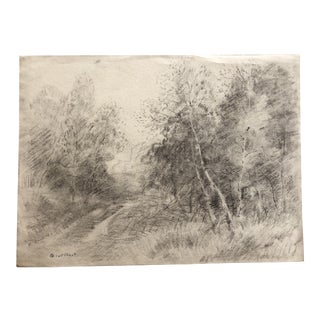 1930s Vintage Eliot Clark Impressionist Inspired Plein Air Landscape Drawing For Sale