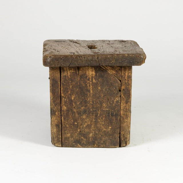 Oak Small Rustic Square Oak Stool With Pierced Top, English Circa 1800. For Sale - Image 7 of 13