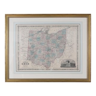 Gilt Wood Framed & Matted Map / Ohio For Sale