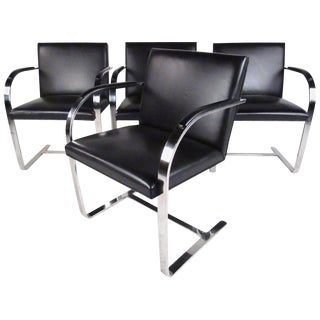 Set of Vintage Modern Cantilever Dining Chairs by Brueton For Sale