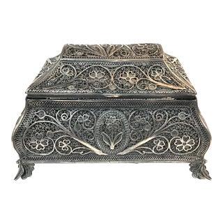 Rare Russian Sterling Silver Filigree Spice Box For Sale