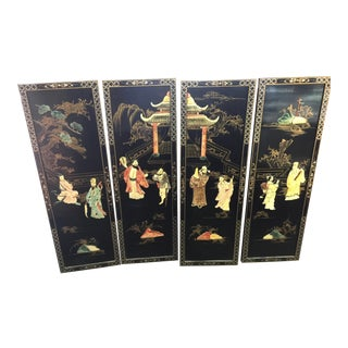 Chinese Black Lacquer Hardstone Wall Panels Set of Four