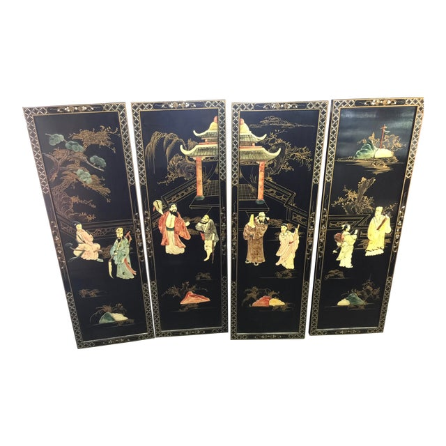 Chinese Black Lacquer Hardstone Wall Panels Set of Four For Sale