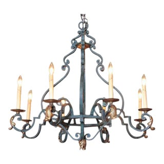 Mid-20th Century French Eight-Light Iron Chandelier With Verdigris Finish