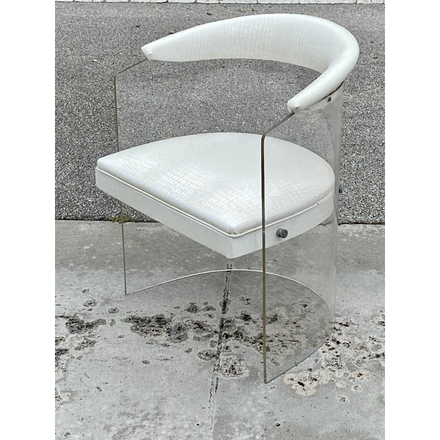 Set 4 vintage lucite barrel back chairs with white faux crocodile seats. In great original condition. Some aging on the...